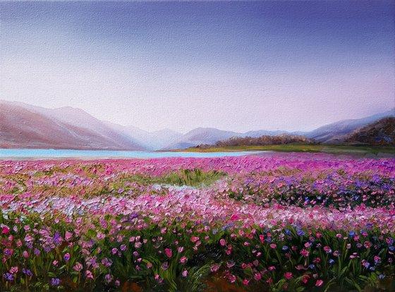 """Pink evening"", oil landscape painting, knife palette scenery art"