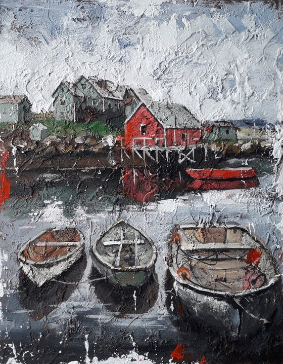 Boats by the shore Texture painting Original painting