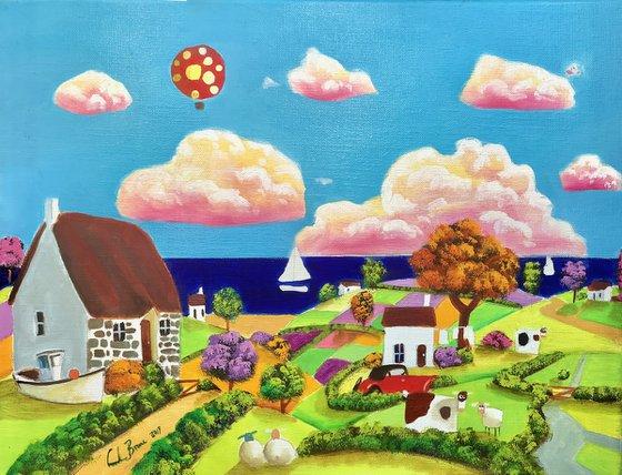 folk art seaside painting (Linen canvas)