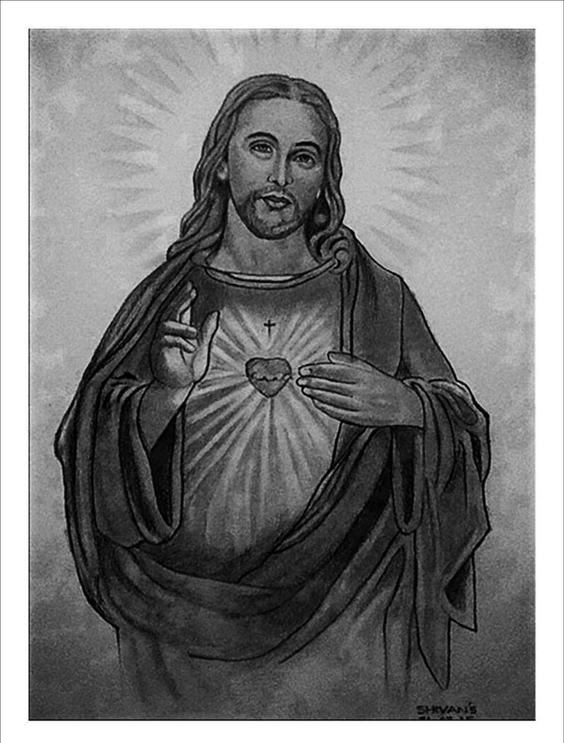 Pencil portrait of son of god jesus christ 2015