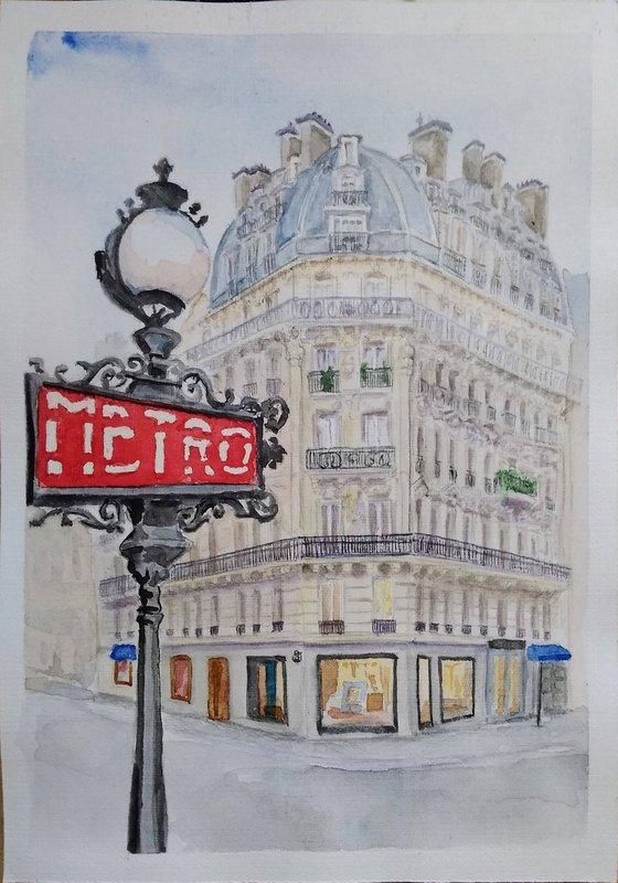 Parisian metro station Rue Saint Sulpice