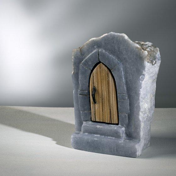 Gothic Arch Alabaster Sculpture w/ Wood Door