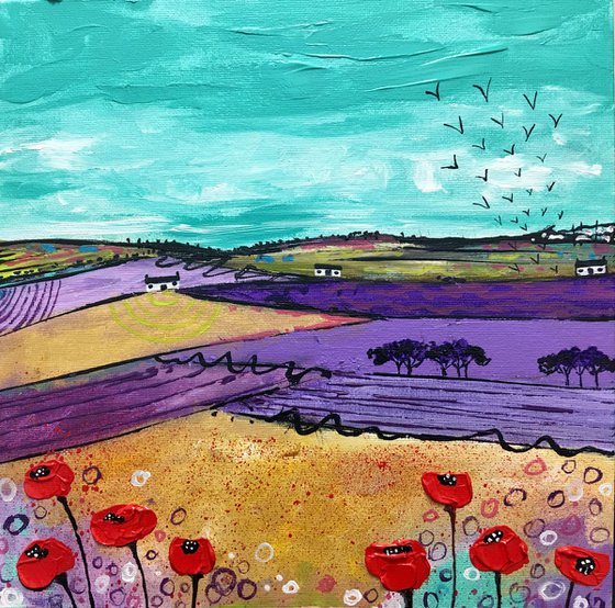 Springtime Poppies #2 - Scottish Landscape 30x30