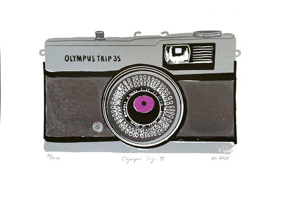 OLYMPUS TRIP 35 [GREY] - Limited-edition, vintage camera screenprint