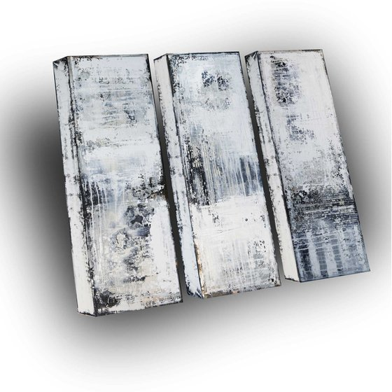 CONCRETE SURFACE - ABSTRACT ACRYLIC PAINTING TEXTURED * TRIPTYCH * WALL SCULPTURE