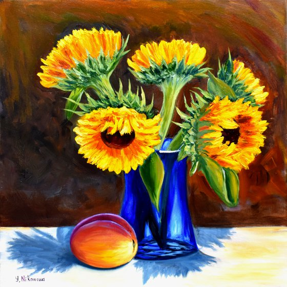 Sunflowers in Blue Vase
