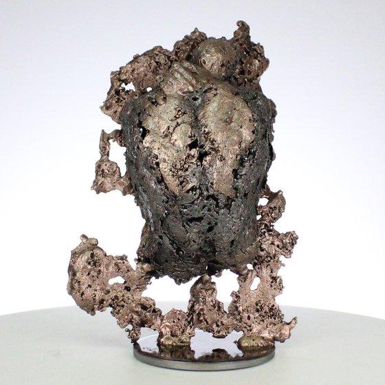 The mountain yogi III - male body lace metal artwork bronze steel