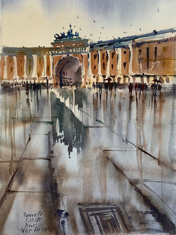 Rain on the Palace square. St. Petersburg.