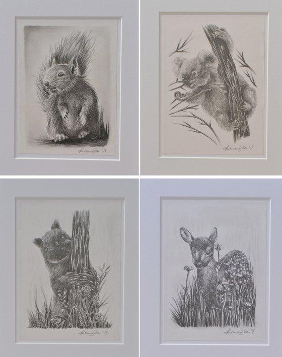 Pencil drawings set of 4 (2)