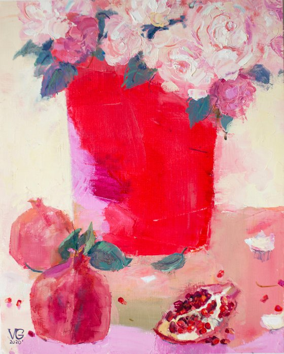Red vase with pomegranates