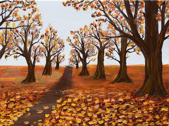 """Naive Autumn"" 40 x 30 cm, Ready to Hang"