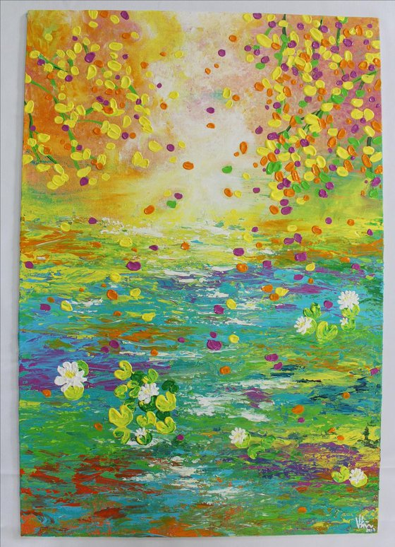 """""""Dreamy World"""" - Claude Monet Inspired Impressionistic Acrylic Lily Pond Painting"""