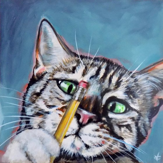 Cat painting called 'Sebastian simply loved his new yellow pencil'