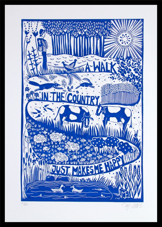 A walk in the Country, large linocut