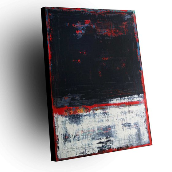 RED LINE - 120 X 80 CMS - ABSTRACT ACRYLIC PAINTING TEXTURED * RED * ANTHRACITE