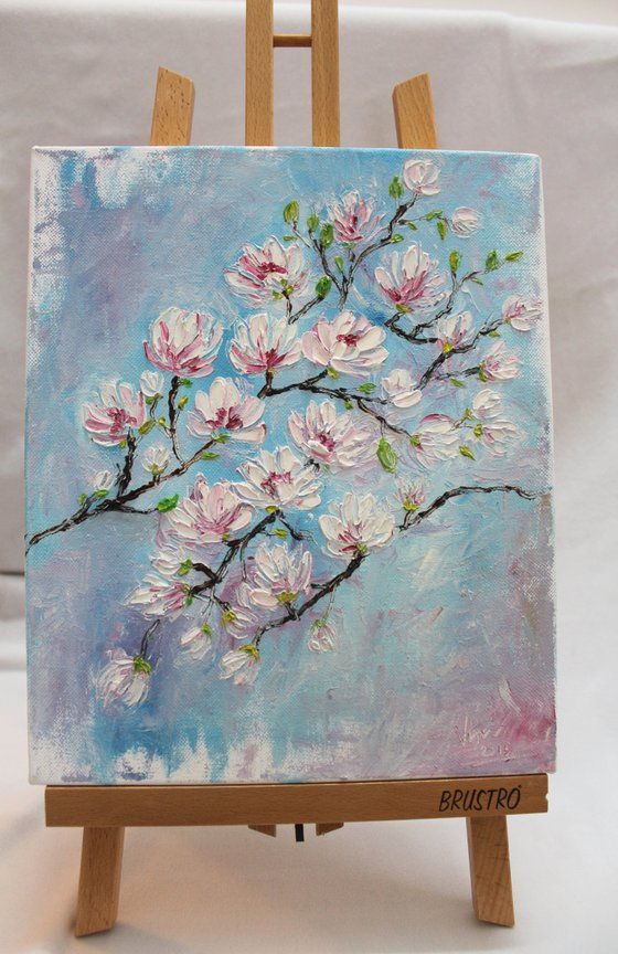 Cherry blossoms - Oil painting on stretched canvas - palette knife - impressionistic painting - floral art - gift art - impasto textured artwork