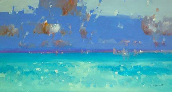 Caribbean Coast, Original oil painting, Handmade artwork, One of a kind