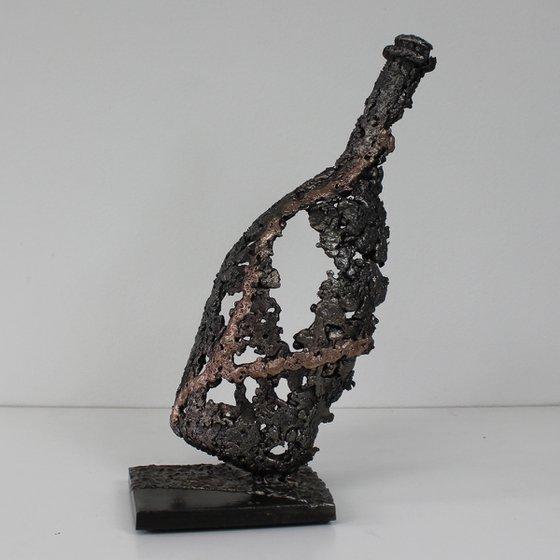 Bottle LXVIII - metal sculpture champagne bottle