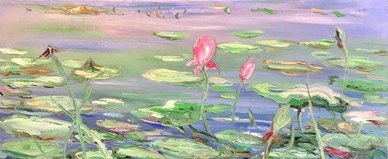 ROSE LOTUS POND - Water landscape, waterlily pond, oil painting, long horizontal interior art 50x120