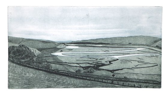 """Heike Roesel """"Cuckmere Valley"""", fine art etching, edition of 20 in variation"""