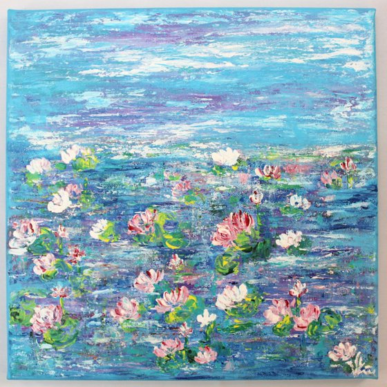 Lily Pond-Claude Monet Inspired Impressionistic Acrylic Painting Ready to Hang