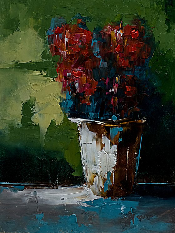 Modern still life painting. Flowers in vase. Gift for her