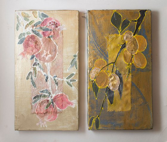 Diptych Golden apricot and pomegranate branches with fruits