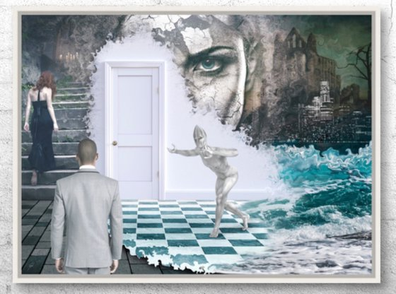 OPEN THE DOOR   Digital Painting printed on Alu-Dibond with White wood frame   Unique Artwork   2019   Simone Morana Cyla   85 x 63 cm   Art Gallery Quality   Published