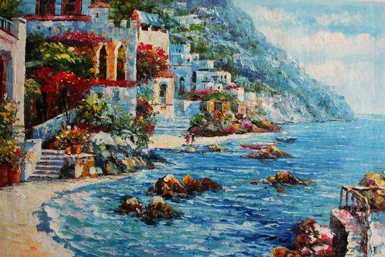 """""""Greece Beach"""" canvas / oil. Size 60x90 cm."""