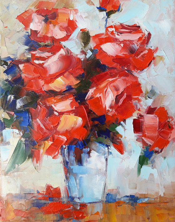 Still life -roses (24x30cm, oil painting, ready to hang)
