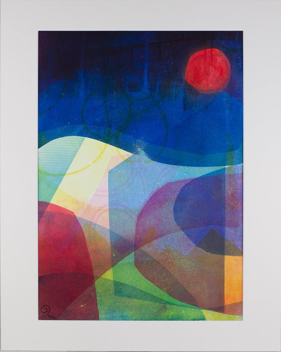 """Late to the Loch - Mounted and Backed 50cm (20"""") x 40 cm (16"""") Original Signed Monotype"""