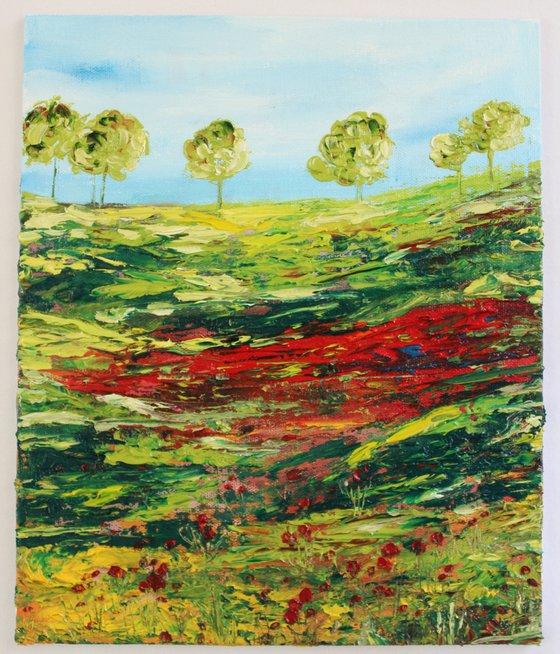 Lake district - Impressionistic Landscape Oil painting on canvas board- Palette knife work