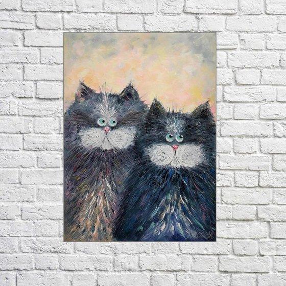 Cat Painting Dear Cat, art cat impasto, love cat,oil painting cat, Cat art original, artwork gift cat wall art Cats art gift pet artwork cat