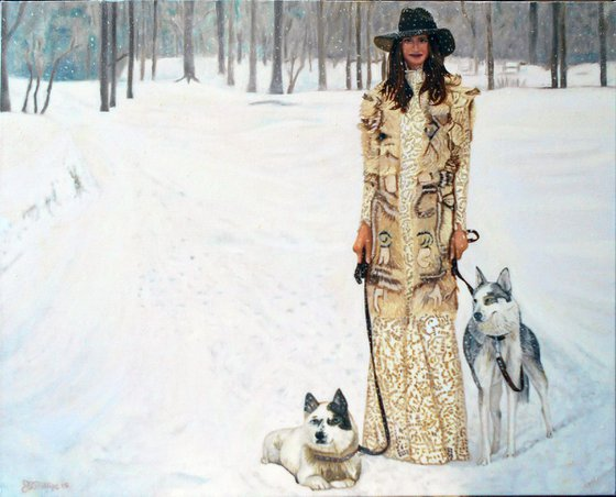 Woman and Dogs in Snow
