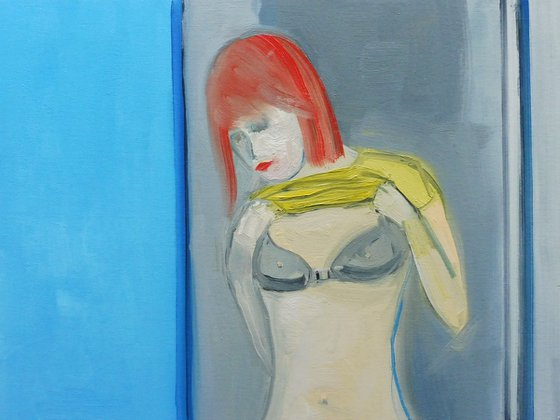 GIRL REDHEAD UNDRESSING  with BLACK BRA. Original Female Figurative Oil Painting. Varnished.