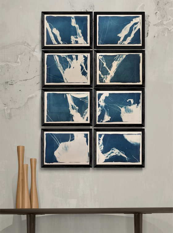 Umbrellas - Cyanotype print