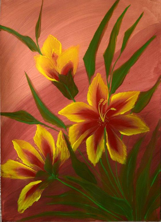 """Magic flowers"" ( 29.7 x 42 cm) acrylic on paper"