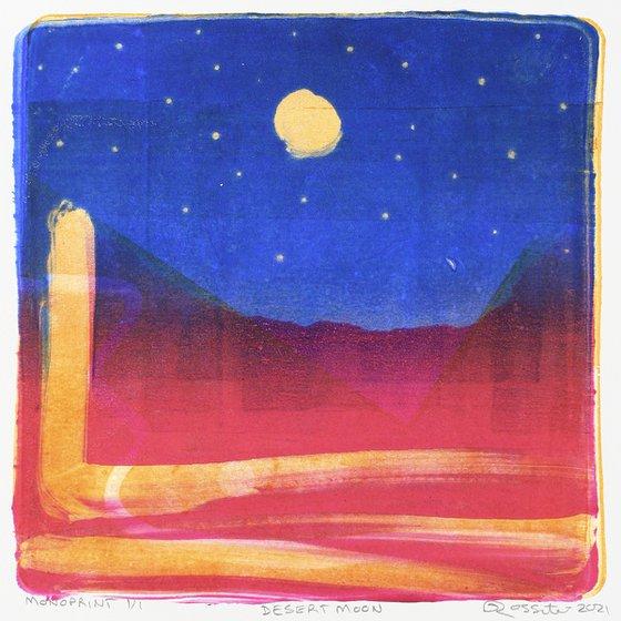 Desert Moon - Unmounted Signed Monotype