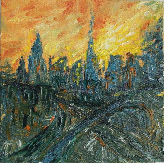 Dubai at Sunset (Feb 2020) - Palette Knife Impressionistic Oil Painting - Skyline - Cityscape - Miniature - Mini canvas - Famous places - Abstract - sun