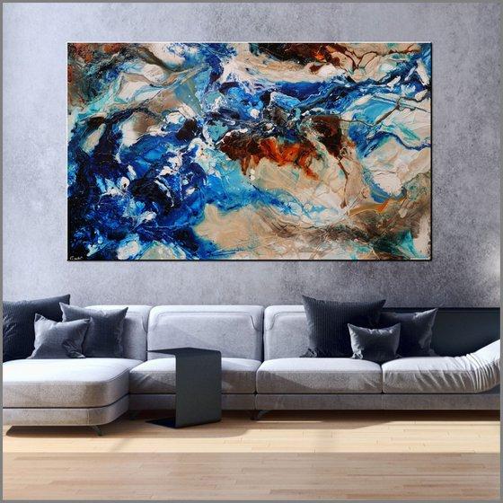 Drifting Grace 250cm x 150cm Blue White Abstract Art