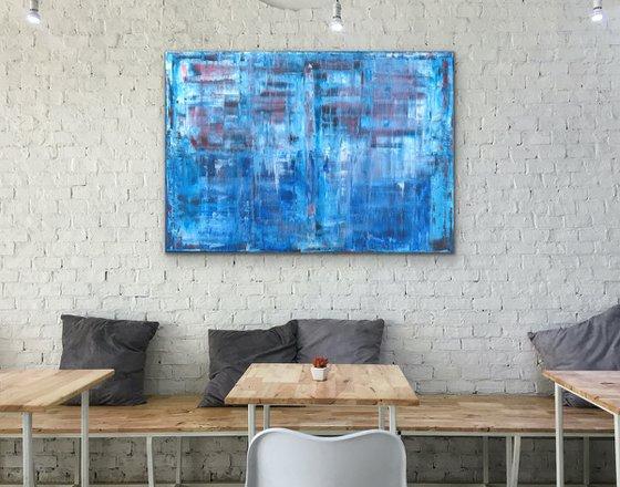 Blue - Abstract - Canvas - Rectangular - Gerhard Richter Style