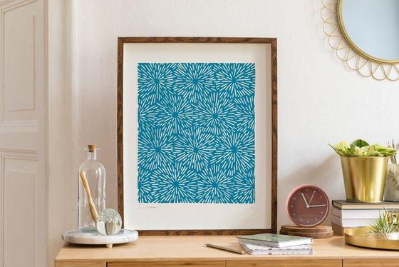 Reaction (Azure Geometric Linocut Print)