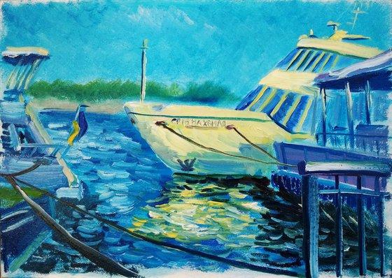 Pleasure boat before sailing. Pleinair painting