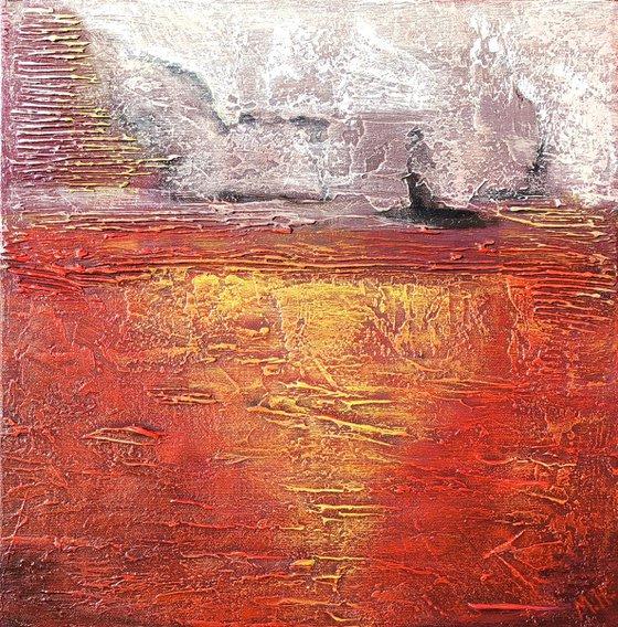 Sunset (35x35cm size, texture, Modern art )