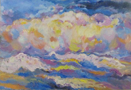 CLOUDS OVER THE CASPEAN SEA - large original impressionistic painting, blue sky landscape, skyscape cloudscape