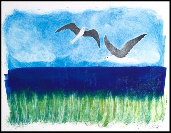 Seagulls, monotype with collagraph, one of a kind