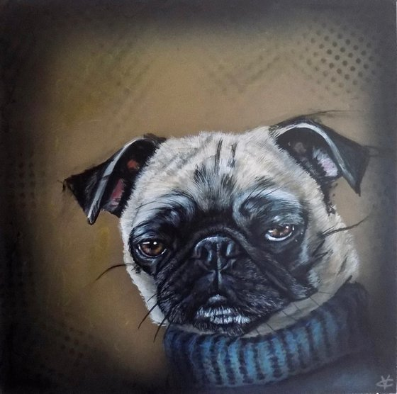 Pug painting called 'Floyd Knew it Would End Badly'
