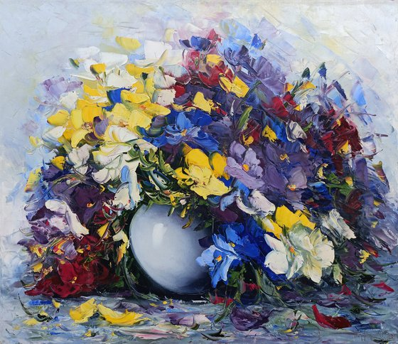 Purple Wild flowers, 60x70cm, oil painting, palette knife, ready to hang, colorful flowers, floral art