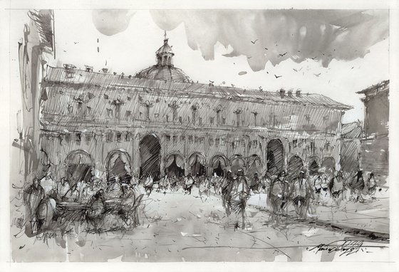 Bologna city center-large impresionistic ink drawing sketch