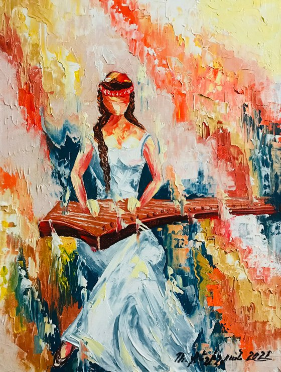Musician 30x40cm, oil painting, ready to hang